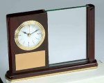 Piano Finish Mahogany Rectangle Clock with Glass Employee Awards