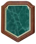 Shield Walnut Plaque with Green Marble Plate Shield Plaques