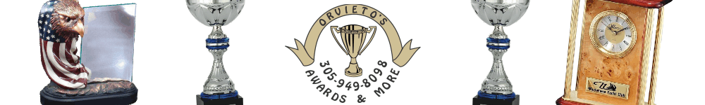 Orvieto's Awards & More - acrylic awards, crystal awards, cup trophies, perpetual plaques, baseball trophies, football trophies, soccer trophies, corporate plaques, recognition plaques, glass awards, gifts, clocks, corporate awards, north miami beach, fl, florida